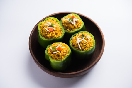 Stuffed capsicum or bharwa shimla mirchi is a popular Indian main course recipe. Stock fotó