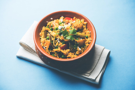 Masala Rice or masale bhat - is a spicy vegetable fried rice / biryani or Pulav usually made during wedding occassions in maharashtra, India