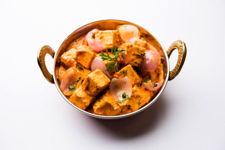 Paneer Do Pyaza  is a popular punjabi vegetarian recipe using cubes of cottage cheese  with lots of onion in a gravy Stock Photo