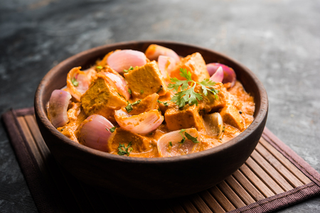 Paneer Do Pyaza  is a popular punjabi vegetarian recipe using cubes of cottage cheese  with lots of onion in a gravy 写真素材