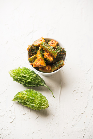 Karela Achar / Bitter Gourd Pickle, popular Indian recipe Stock Photo