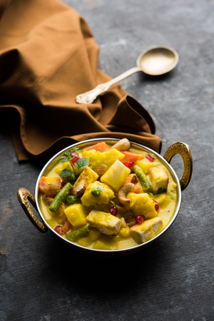 "Navratan Korma is a rich, creamy and flavorful Mughlai dish  from India that literally translates to nine-gem curry. The ""gems"" are the fruits, vegetables and nuts that make up the curry."