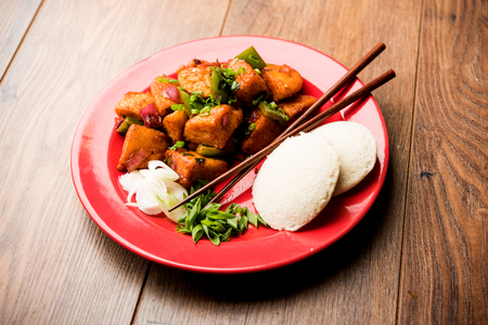 Schezwan Idli or manchurian Idly, tasty indo-chinese recipe. selective focus