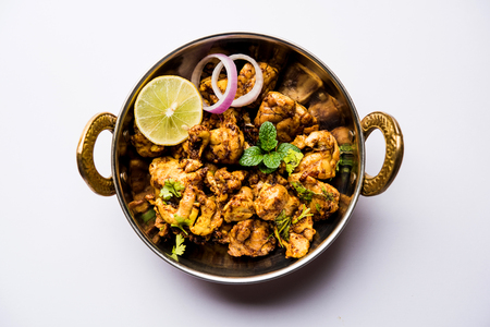 Brain  Bheja Fry of goat, sheep or lamb is a popular Indian or pakistani dish cooked on Bakra Eid(Eid-ul-zuha). served in karahi, pan or plate. selective focus