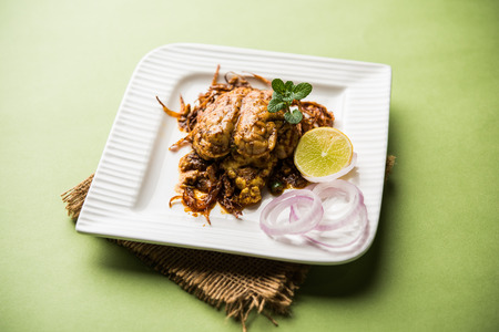 Brain / Bheja Fry of goat, sheep or lamb is a popular Indian or pakistani dish cooked on Bakra Eid(Eid-ul-zuha). served in karahi, pan or plate. selective focus Stock Photo