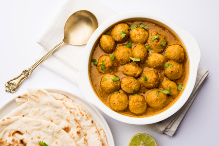 Masala Soya Chunk Curry made using Soyabean nuggets and spices - protein rich food from India Reklamní fotografie