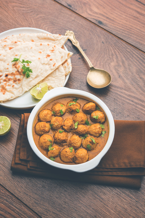 Masala Soya Chunk Curry made using Soyabean nuggets and spices - protein rich food from India Stock Photo