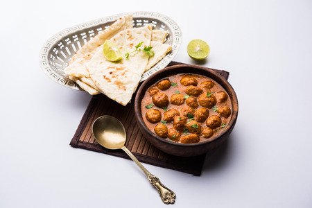 Masala Soya Chunk Curry made using Soyabean nuggets and spices - protein rich food from India Stock fotó