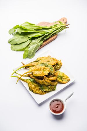 Crispy Palakspinach Leaves pakoda or pakoda