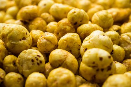 Roasted Phool Makhana or Crispy Lotus pops Seed served in a bowl, selective focus