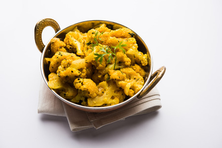 Dry Gobi Masala/ cauliflower Sabzi served in a bowl. selective focus