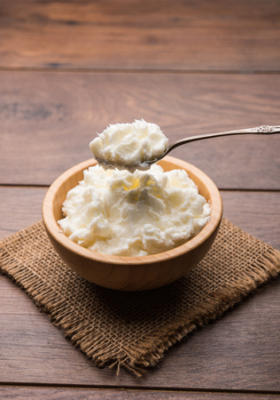 Homemade white Butter or Makhan/Makkhan in Hindi, served in a bowl. selective focus Archivio Fotografico