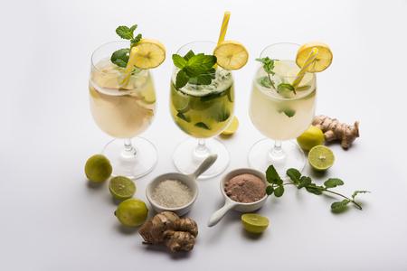 Shikanji is lemonade originating from the Punjab/India. Also known as shikanjvi or Nimbu Pani or sherbet. popular summer cold drink Imagens