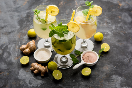 Shikanji is lemonade originating from the Punjab/India. Also known as shikanjvi or Nimbu Pani or sherbet. popular summer cold drink Zdjęcie Seryjne