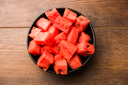 Watermelon / tarbooj fruit cube slices served in a bowl. selective focus Stock fotó