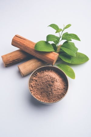 Chandan or sandalwood powder with sticks and green leaves