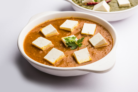 Paneer dish made in tomato and spinach greavy called Paneer-butter masala or palak-paneer. selective focus Reklamní fotografie