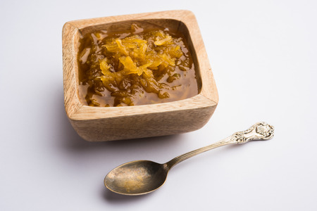Mango Chunda or Sakhar Amba is a traditional indian summer recipe made using accha aam preserved in sugar syrup for days. selective focus Stock Photo