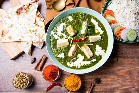 Palak Paneer Masala is a popular North Indian recipe for lunch/dinner made using cottage cheese in green spinach curry. usually served with Rice and chapati/naan. selective focus Stock Photo