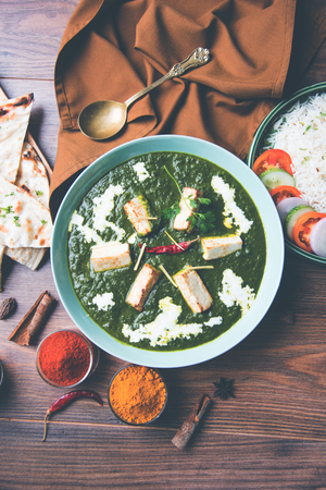Palak Paneer Masala is a popular North Indian recipe for lunchdinner made using cottage cheese in green spinach curry. usually served with Rice and chapatinaan. selective focus