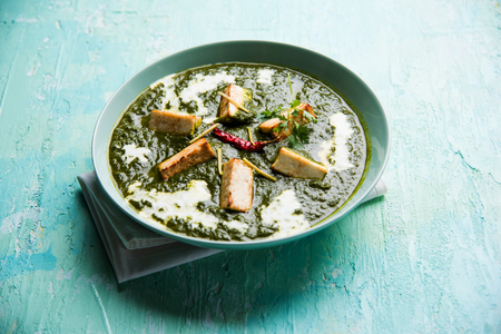 Palak Paneer Masala is a popular North Indian recipe for lunch/dinner made using cottage cheese in green spinach curry. usually served with Rice and chapati/naan. selective focus Foto de archivo