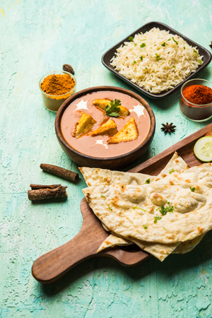 Paneer Butter Masala is a popular North Indian recipe for lunch/dinner made using cottage cheese in red tomato curry. usually served with Rice and chapati/naan. selective focus Foto de archivo