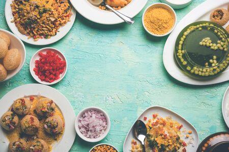 Group of Bombay chat food includes golgappapanipuri, bhel-puri, sev-poori, dahipuri, Ragda pattice, raj kachori etc. Selective focus