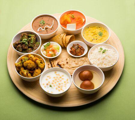 Indian Hindu Veg Thali / food platter, selective focus