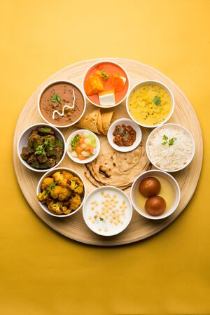 Indian Hindu Veg Thali / food platter, selective focus Reklamní fotografie