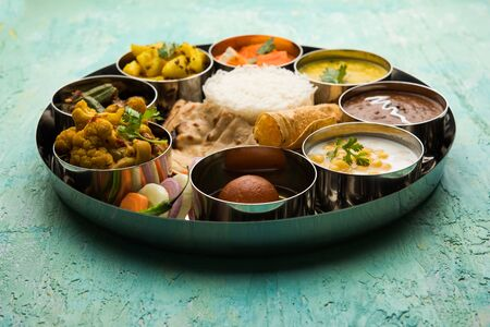 Indian Hindu Veg Thali / food platter, selective focus