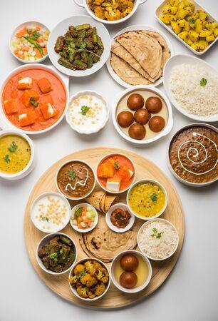 Indian Hindu Veg Thali / Essensplatte, selektiver Fokus Standard-Bild