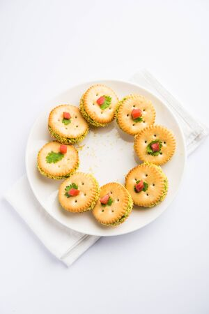 homemade salted Biscuit chat or sandwich for kids or starers for guests