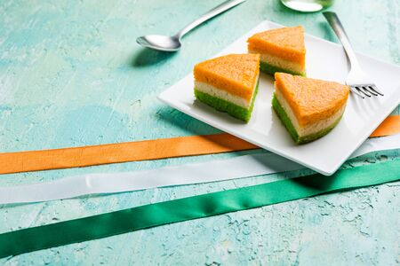 Tri-coloured / tiranga  Cake for Independence/republic Day celebration using Indian Flag colours