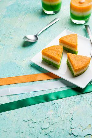 Tri-coloured / tiranga Cake for Independence/republic Day celebration using Indian Flag colours 版權商用圖片