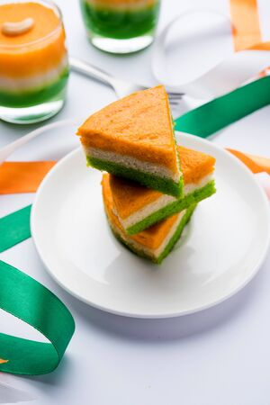 Tri-coloured / tiranga Cake for Independence/republic Day celebration using Indian Flag colours