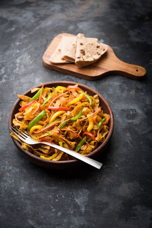 Leftover Chapati noodles also known as fodnichi holi or Upma is a great substitute for traditional unhealthy noodles for kids, selective focus