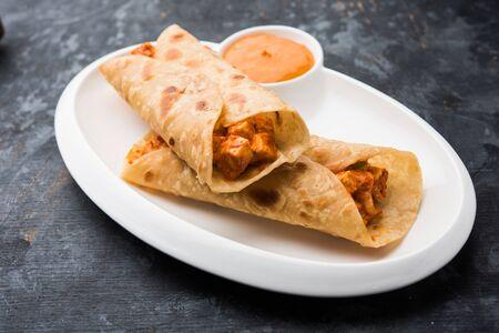 Peri Peri Paneer Chapati Frankie/Wrap/Roll, selektiver Fokus