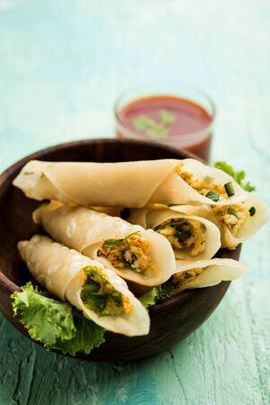Paneer chilli cigar are crispy rolls stuffed with paneer which is an interesting starter for any party. served with tomato ketchup. selective focus