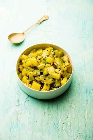 Lauki/doodhi ki soothe Sabji also known as bottle gourd dry sabzi. served in a bowl or karahi. selective focus