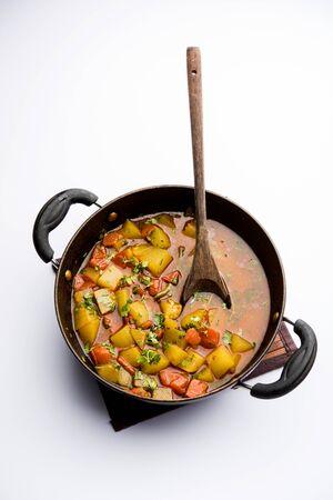 Lauki/doodhi ki Sabji also known as bottle gourd curry. served in a bowl or karahi. selective focus