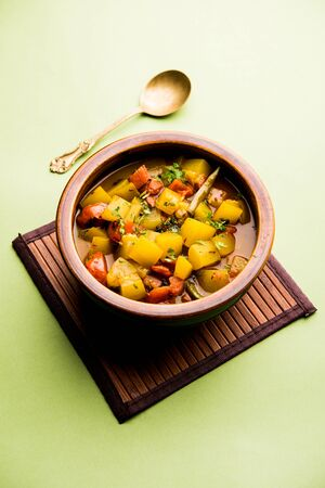 Lauki/doodhi ki Sabji also known as bottle gourd curry. served in a bowl or karahi. selective focus