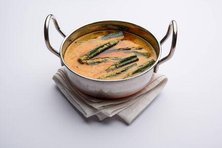 Hyderabadi Bhindi ka Salan or Okra salan made using ladies' fingers or ochro. Main course recipe from India. served in a bowl. selective focus Stock Photo