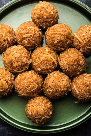 Jaggery coconut Laddoo / Nariyal gur ke laddu, indian sweet food for festivals like rakshabandhan/rakhi pournima