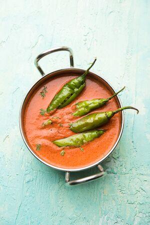 Hyderabadi mirch/mirchi ka Salan or green chilly sabzi or curry. Main course recipe from India.   Selective focus