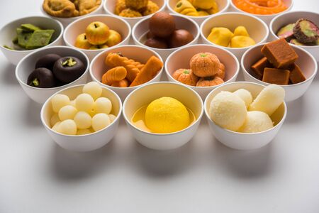 Rangoli of Assorted Indian sweetsmithai in bowl for Diwali or any other festivals, selective focus Stock fotó