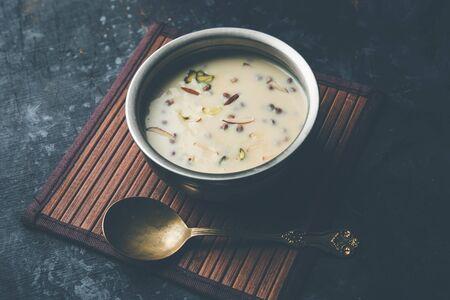 Basundi  Rabri or Rabdi - is a dessert made of condensed  milk and dry fruits Reklamní fotografie