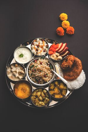Navratri Upwas Thali / Fasting food platter, selective focus