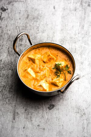 Paneer Korma, Kurma or Quorma is a popular Indian main course recipe made using cottage cheese with curry made of curd, coconut and cashew nuts Stock Photo