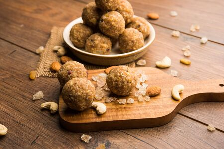 Sweet dink laddu also known as Dinkache ladoo or gond ke laddoo made using edible gum with dry fruits