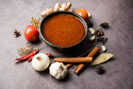 North Indian basic spicy Curry or masala for vegetables or chicken or mutton recipe shown with ingredients, served in a bowl. selective focus